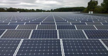 Solar panels at a 14 megawatt solar array supporting a data center in New Jersey. (Photo: Rich Miller)
