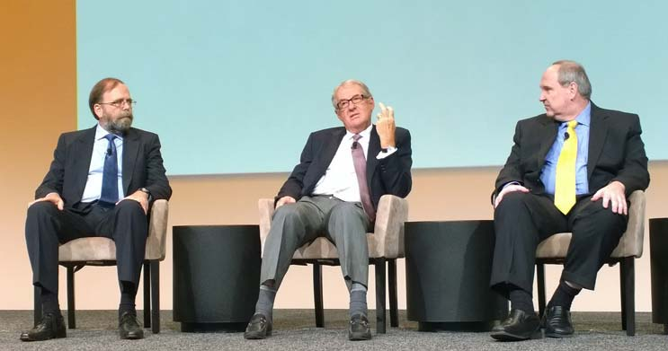 Steve Fairfax of MTechnology, Peter Gross of Bloom Energy and David Schirmacher of Digital Realty Trust discuss metrics at the 7x24 Exchange srping conference. (Photo by Rich Miller)
