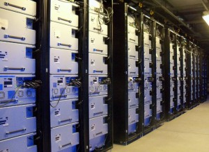 A row of BluRay cold storage devices inside a Facebook data center. This was one of thew Top 10 Data Center Stories of 2015.