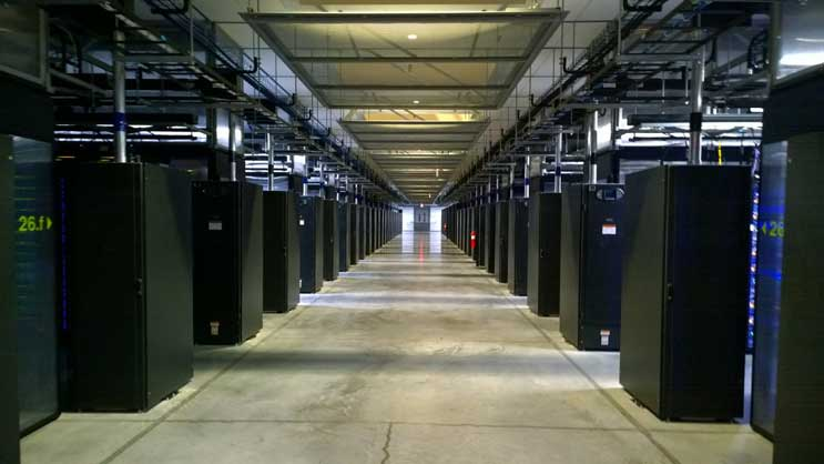 Facebook data center - rows of servers