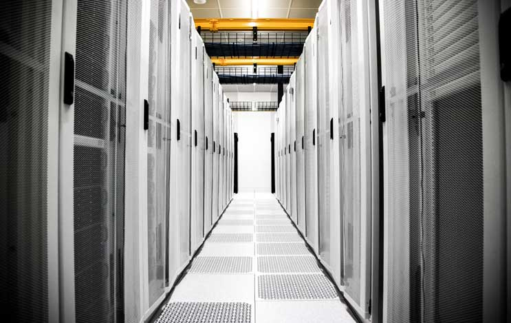 Cabinets inside an EdgeConnex data center.
