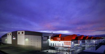 A sunset image of the Switch SUPERNAP 8 data center in Las Vegas. Switch says it will build a new campus near Atlanta. (Image: Switch)