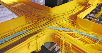 Fiber cables inside an Equinix data center in Ashburn VA