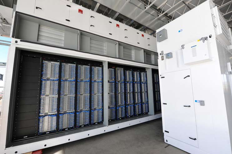 microsoft-quincy-itpacServers packed inside an IT-PAC data center module in an earlier phase of the Quincy campus, which uses Microsoft's Generation 4 design. (Photo: Microsoft)