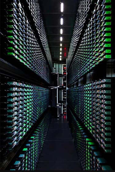 A tape library inside a Google data center