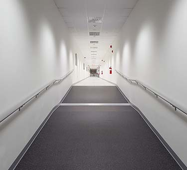 This 400-foot long hallway runs the length of the TierPoint facility in TekPark near Allentown, Pa. (Photo: Rich Miller)