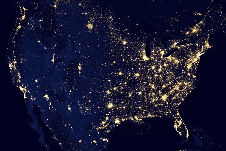 This satellite map of the U.S. at night illustrates the concentration of population in the eastern half of the country. (Photo: NOAA)