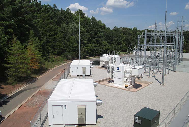 The 100 kV substation supporting the Sentinel Data Centers' project in Durham, N.C. The robust utility infrastructure allows Sentinel to offer variable resiliency plans to customers. (Photo: Sentinel Data Centers).