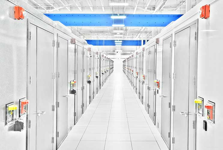A row of data center modules inside the huge IO New Jersey data center in Edison, N.J. (Photo:IO)
