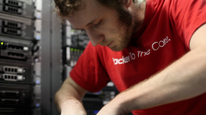 A Rackspace employee (Racker) working on a server in one of the company's data centers. (Photo: Rackspace)