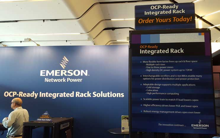 Emerson Network Power had its OCP_Ready Integrated Rack on display at its booth at the Open Compute Summit in San Jose, Calif. last month. (Photo: Rich Miller)