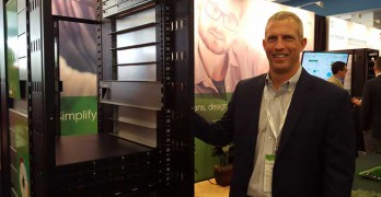 Kevin Brown, vice president, Global Data Center Strategy and Technology at Schneider Electric, with one of the company's Open Rack V2 designs at the recent Open Compute Summit. (Photo: Rich Miller)