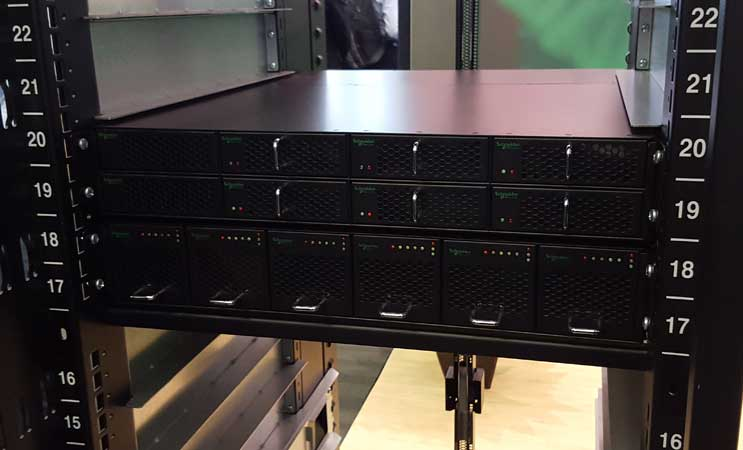 Schneider Electric's new Open Rack V2, with power shelf components. (Photo: Rich Miller)