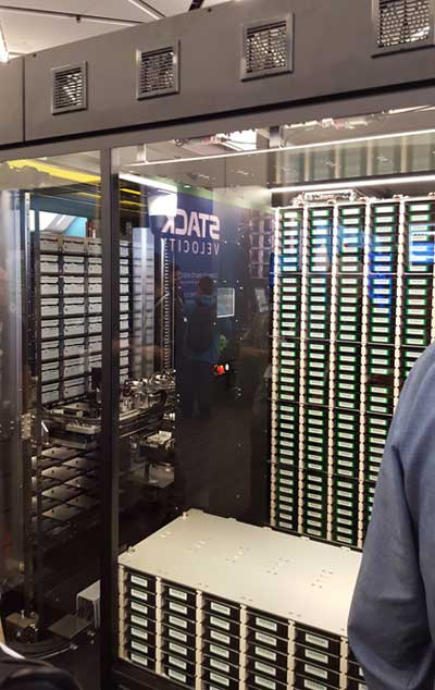 Sony's Everspan optical archive houses data in high-capacity Blu-Ray discs, which are retrieved by a robotic system. This enclosure was on display at the Open Compute Summit in March. (Photo: Rich Miller)