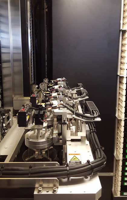 A close-up of the robotic disc retrieval system used by the Sony Everspan optical archiving solution, which was on display at the Open Compute Summit. (Photo: Rich Miller)
