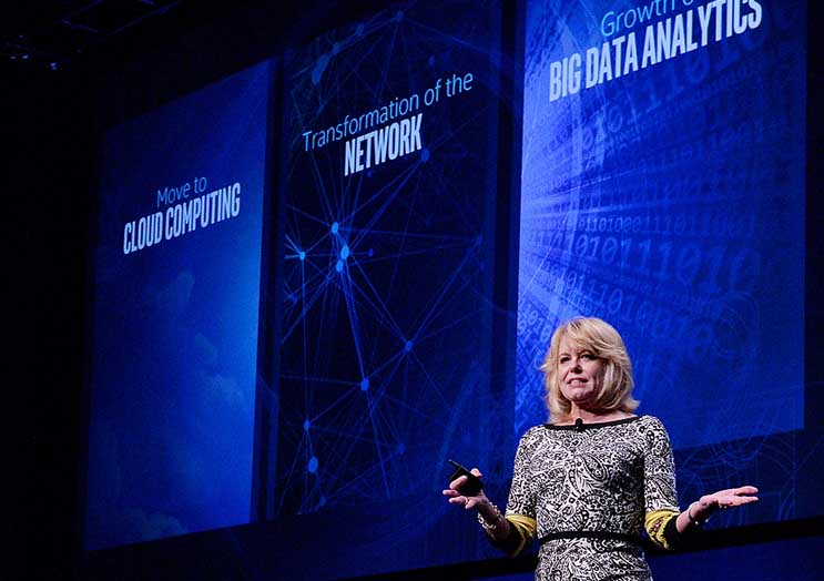 Diane Bryant, senior vice president and general manager of Intel's Data Center Group, speaks Wednesday at the Intel Developers Forum in Shenzhen, China. (Photo:Intel)
