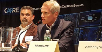Carter Validus CEO Michael Seton (right) discusses data center financing at the recent New York Data Center Summit. At left is Todd Raymond, CEO of 1547 Critical Systems Realty. (Photo: Rich Miller)