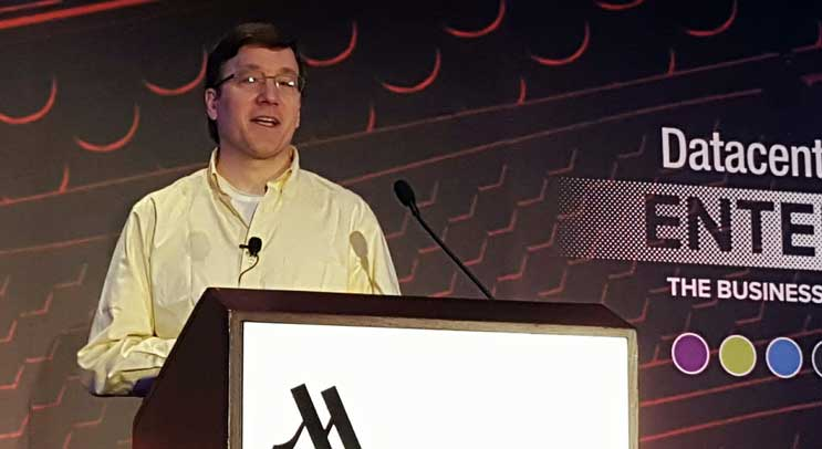 Ben Cutler, Project Manager for Microsoft's Project Natick, speaking Wednesday at the Datacenter Dynamics Enterprise conference in New York. (Photo: Rich Miller)