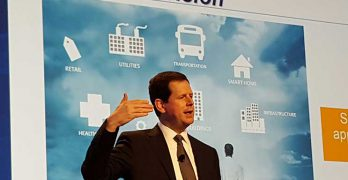 Steve Hassell of Emerson Network Power speaks at the Gartner Data Center conference in Dec. 2015. (Photo: Rich Miller)