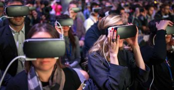 Attendees at the Mobile World Congress in Barcelona wearing Samsung Gear VR headsets. (Photo: Facebook)