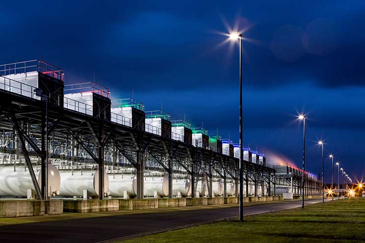 A row of cooling towers at a Google data center in Belgium. (Photo: Google)