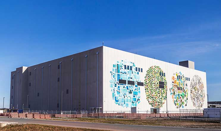 "A view of the huge mural by artist Jenny Odell on an exterior wall of the Google data center in Mayes County, Oklahoma. ""It's a big wall and a big empty canvas,"" said Google's Joe Kava. (Photo: Google)"
