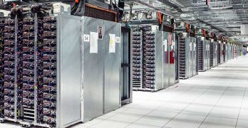 Companies are handling more and more data, as seen in the endless rows of servers in this Google data center in Oklahoma. (Photo: Google)