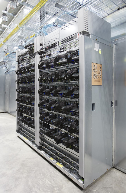 A custom rack in a Google data center packed with Tensor Processing Unit hardware for machine learning. (Photo: Google)