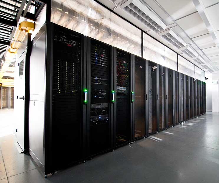 A row of servers at a Green House Data Center