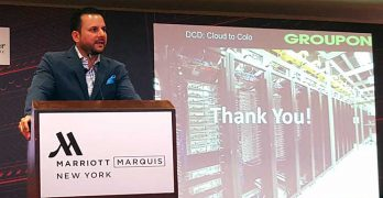 Harmail Chatha, head of Global Data Center Strategy and Operations for Groupon, speaks at DCD Enterprise in New York in March. (Photo: Rich Miller)