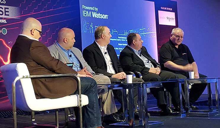 "At DataCenterDynamics Enterprise, a group of startups and analytics firms described how they were using IBM Watson's ""cognitive computing"" capabilities to create applications. (Photo: Rich Miller)"