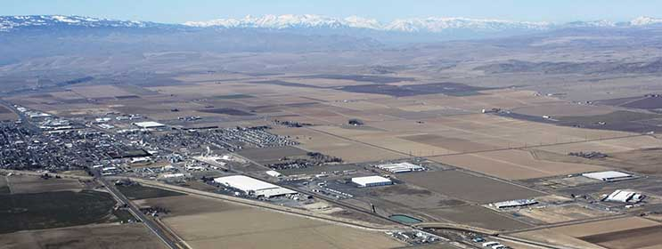 An aerial view of Quincy, Washington, with a number of large data centers visible. (Photo: Port of Quincy)