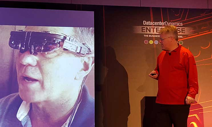 Robert Scoble (right), the entrepreneur in residence at virtual reality news hub Upload VR, described the latest developments with VR technology in his keynote at DatacenterDynamics Enterprise in New York. (Photo: Rich Miller)