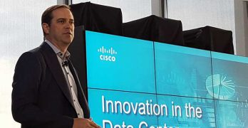 Cisco CEO Chuck Robbins introduces the Tetration Analytics product at a press conference Wednesday in New York. (Photo: Rich Miller)