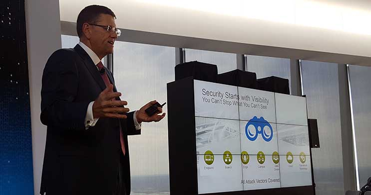 David Goeckler, Senior VP of Cisco's Networking and Security Business Group, outlines some of Tetration's security capabilities. (Photo: Rich Miller)