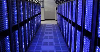 High-density racks filled with servers in a LinkedIn data center near Dallas. (Photo: LinkedIn)