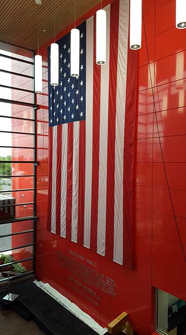 A huge American flag greets visitors to the QTS Chicago data center, which opened earlier this month. (Photo: Rich Miller)