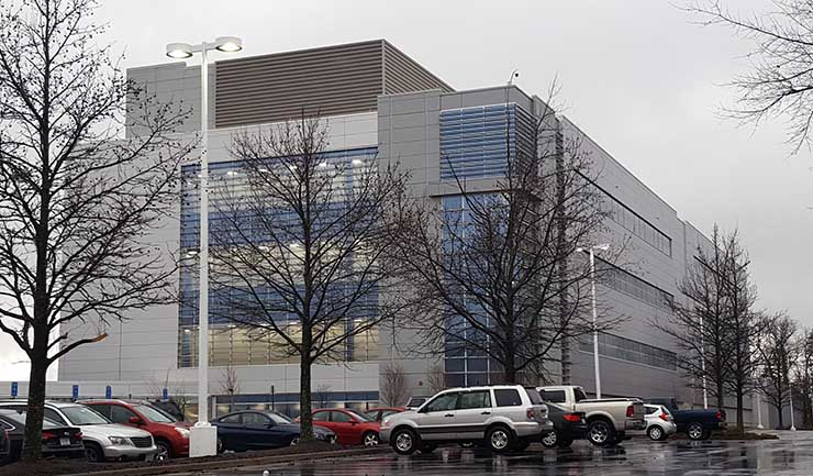 The VA2 data center building on the CoreSite campus in Reston, Virginia. (Photo: Rich Miller)