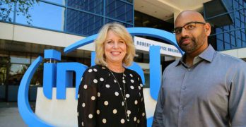 Diane Bryant, executive VP of Intel's Data Center Group, with Nervana founder and CEO Naveen Rao at Intel HQ in Santa Clara. (Photo: Intel)