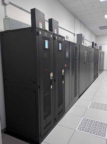 A lithium-ion UPS system from Emerson Network Power in action in the data center. (Photo: Emerson Network Power)