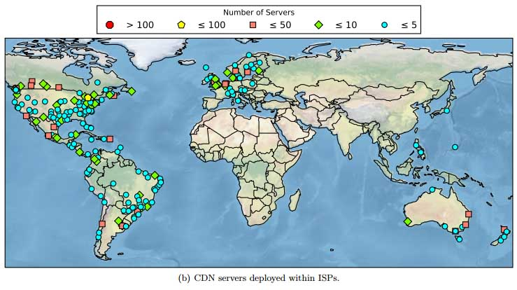 An overview of Netflix Open Connect deployments within the networks of Internet service providers (ISPs) around the world. (Source: Queen Mary University)