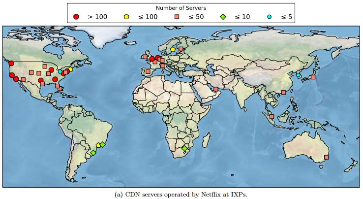 The map of Netflix servers in Internet connection points (IXPs) shows larger concentrations of hardware in major markets. (Image: Queen Mary University of London)