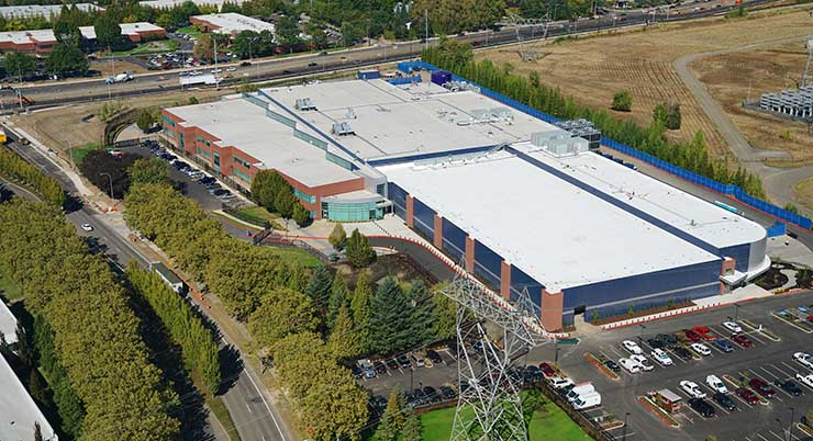 An aerial view of the Infomart Data Centers facility in Hillsboro, Oregon, which sources low-carbon power from the Bonneville Power Administration. (Photo: Infomart)