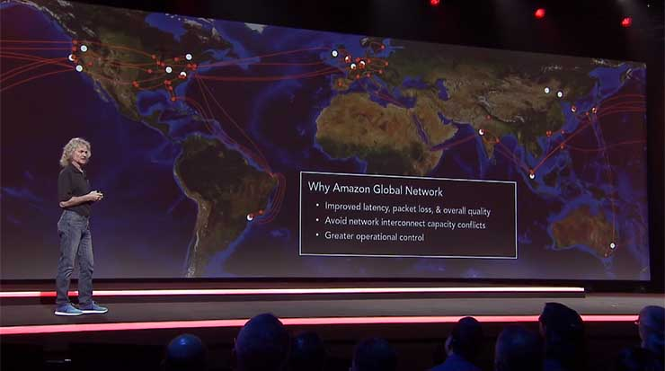 AWS Distinguished Engineer James Hamilton shares a map of Amazon's global private network Tuesday night at the AWS Re:Invent conference in Las Vegas. (Screen shot via Amazon video)
