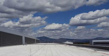 A horizon filled with clouds, rising above the mountains, and viewed from the roof of the Facebook data center in Prineville, Oregon. (Photo: Rich Miller)
