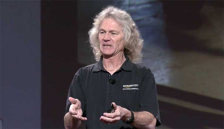 AWS Distinguished Engineer James Hamilton speaks Tuesday night at the AWS re:Invent conference in Las Vegas. (Screen shot via Amazon video)