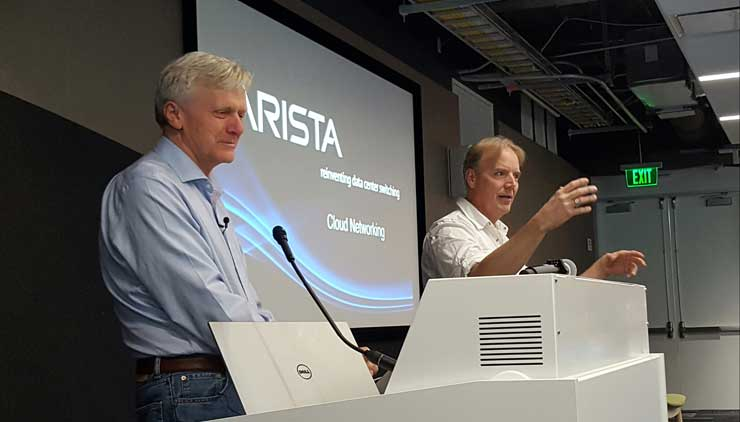 Arista Networks chairman Andy Bechtolsheim (left) and Infrastructure Masons founder Dean Nelson at the group's meeting Wednesday in Sunnyvale, Calif. (Photo: Rich Miller)