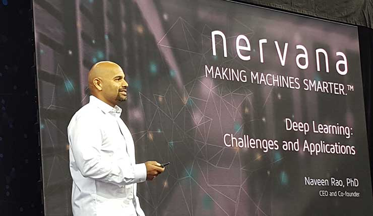 Intel's Naveen Rao, the CEO and co-founder of Nervana, speaks at the O'Reilly AI conference in New York. (Photo: Rich Miller)