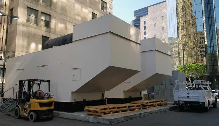 Two of the 11 emergency backup generators on site at the One Wilshire carrier hotel in Los Angeles. (Photo: Rich Miller)