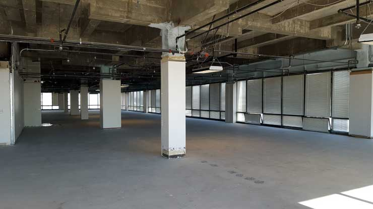 Previously occupied by office tenants, this 21,000 square foot space on the 29th floor of One Wilshire has been prepped for potential data center use. (Photo: Rich Miller)